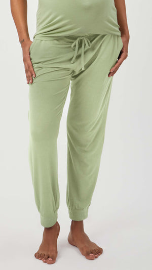 Stowaway Collection Maternity Loungewear Jogger in Pistachio - Front View
