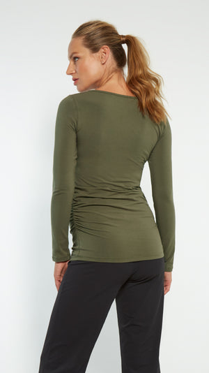Sunburst Maternity Top- Army