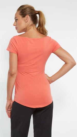 Stowaway Collection Ballet Maternity Tunic in Coral Back View