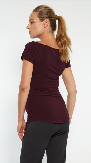Stowaway Collection Ballet Maternity Tunic in Burgundy Back View