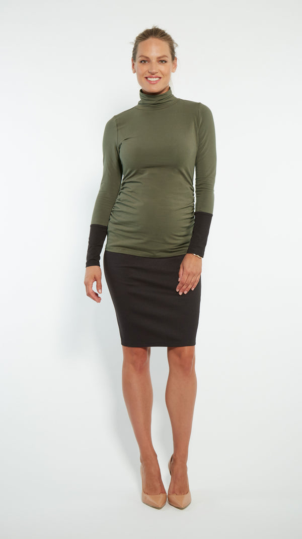 Stowaway Collection Cuffed Maternity Turtleneck Front