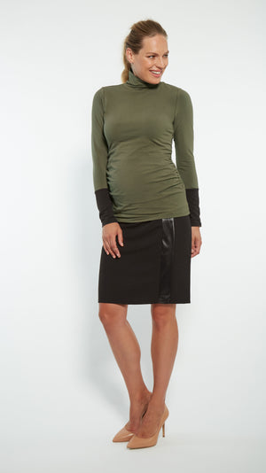 Faux Leather Stripe Maternity Skirt