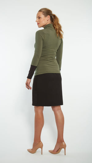 Stowaway Collection Cuffed Maternity Turtleneck Back