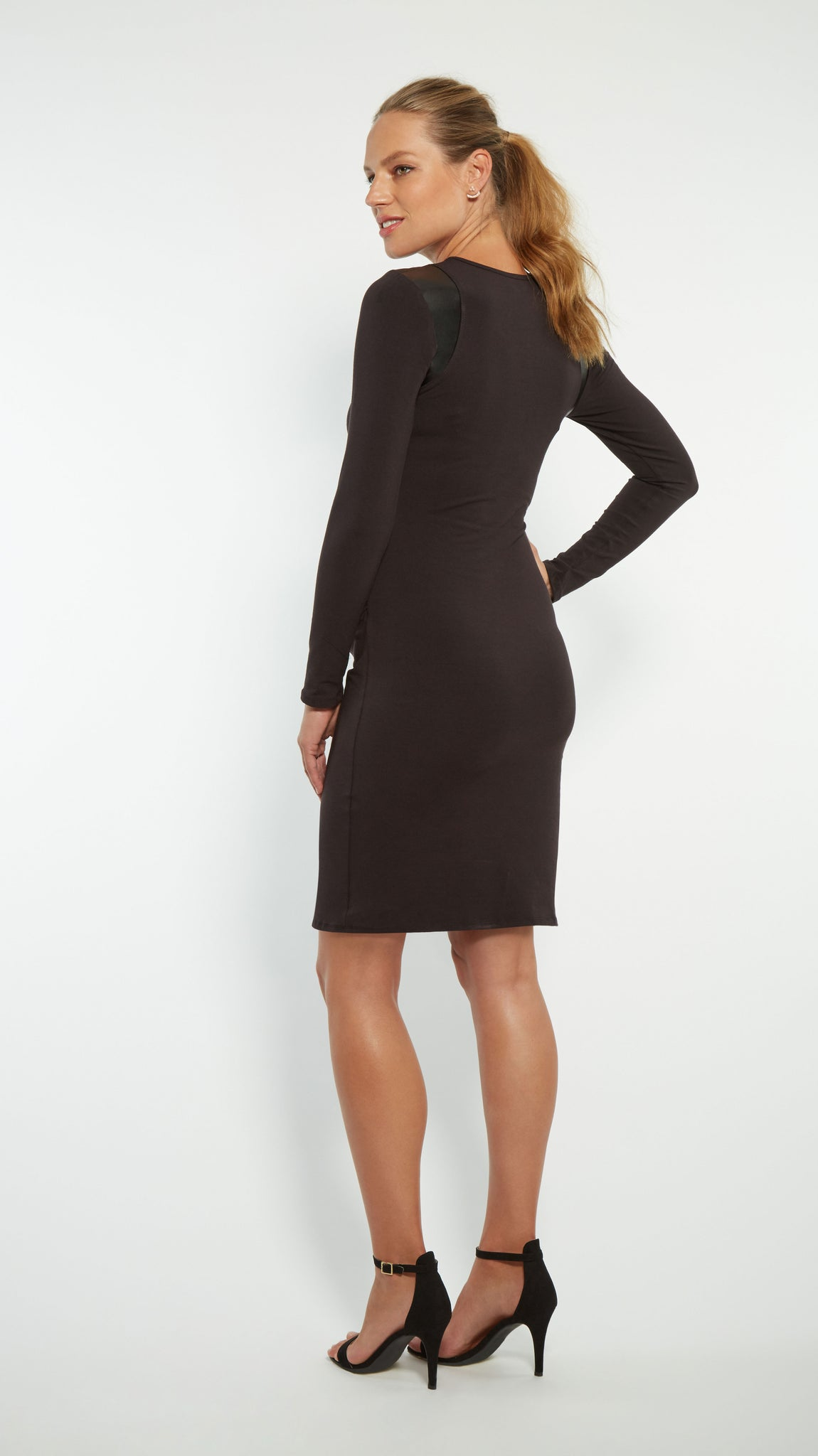 Faux Leather Cut Out Maternity Dress