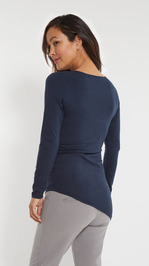 Stowaway Collection Double Keyhole Maternity Top in Navy - Back View