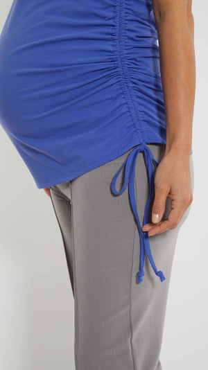 Stowaway Collection Asymmetrical Maternity Tie Top in Periwinkle Close Up Detail Image