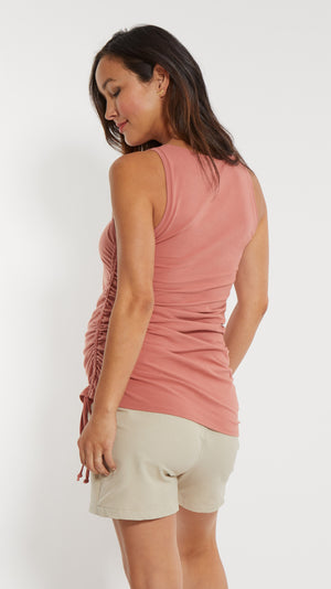 Stowaway Collection Asymmetrical Maternity Tie Top in Salmon Back View