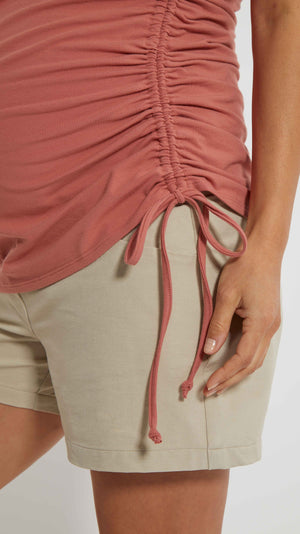 Stowaway Collection Asymmetrical Maternity Tie Top in Salmon Side Detail View