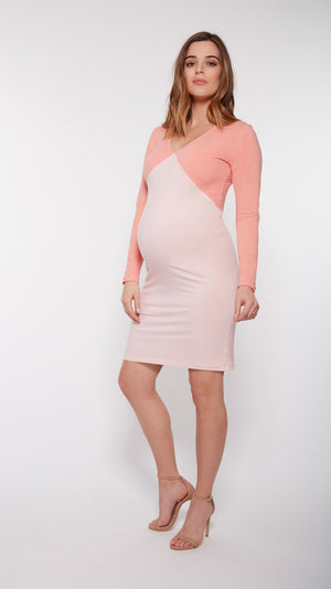 Stowaway Collection Cross Colorblock Maternity Dress Front