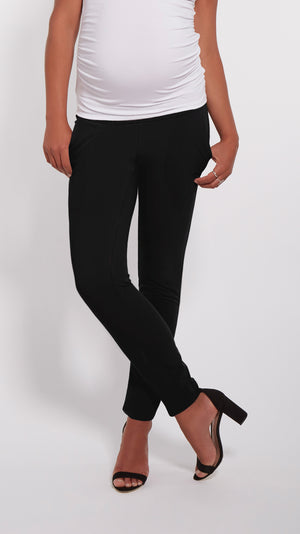 Stowaway Collection Ankle Drawstring Maternity Pant Close Up Front Image