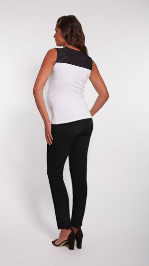 Stowaway Collection Black & White Contrast Maternity Top Back View
