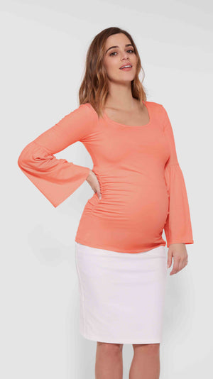 Stowaway Collection Bell Sleeve Maternity Top in Coral Front View