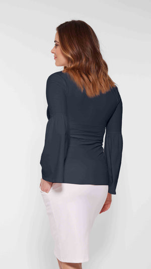 Stowaway Collection Bell Sleeve Maternity Top in Navy Back View
