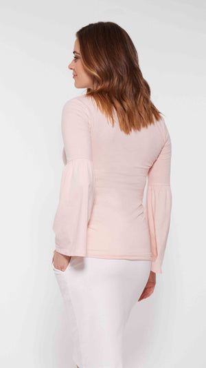 Stowaway Collection Bell Sleeve Maternity Top in Pink Back View