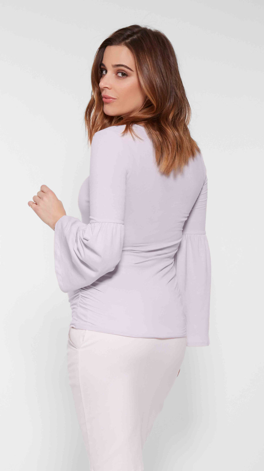 Stowaway Collection Bell Sleeve Maternity Top in Lavender Front View