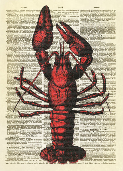 Crayfish Crawdad Dictionary Art Print