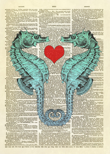 Seahorses in Love Dictionary Art Print