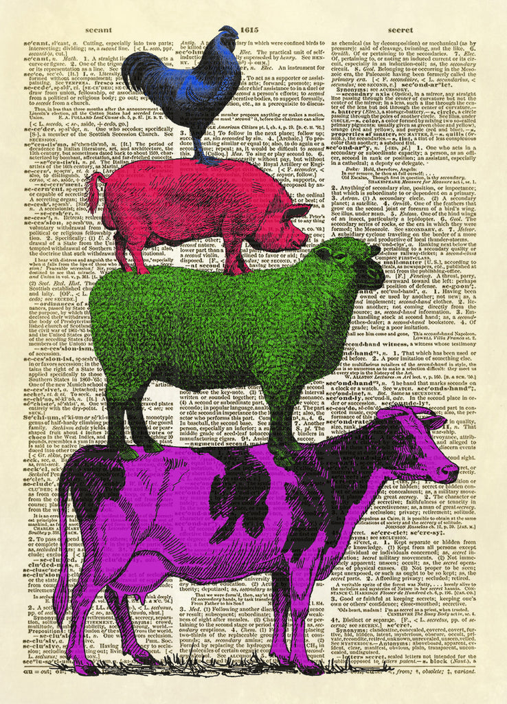 Stacked Farm Animals Dictionary Art Print