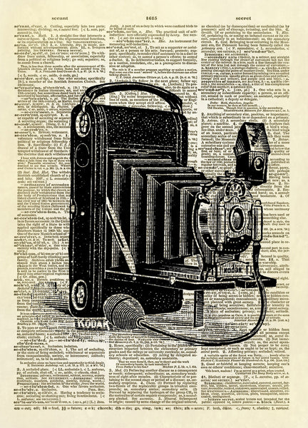 Antique Kodak Camera Dictionary Art Print