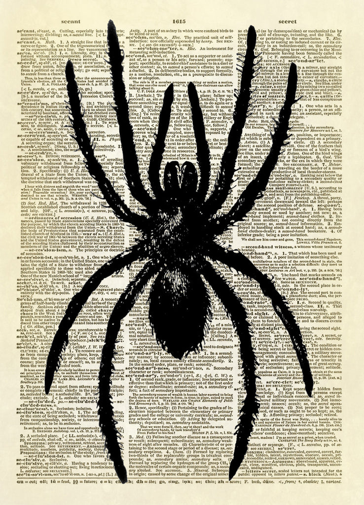 Spooky Spider Dictionary Art Print