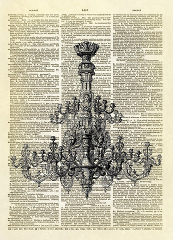 Antique German Chandelier Dictionary Art Print