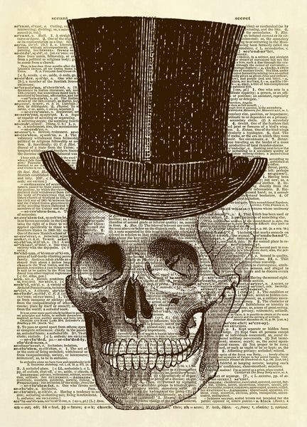 Human Skull with Top Hat Dictionary Art Print