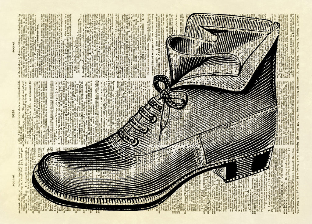 Antique Shoe Boot Dictionary Art Print