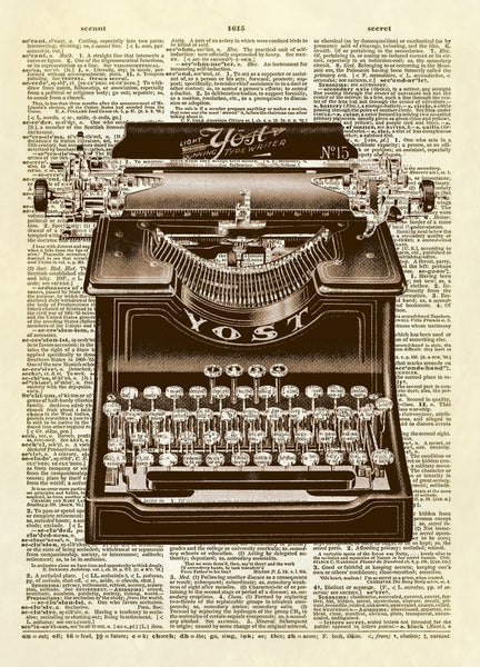 Antique Yost Typewriter Dictionary Art Print