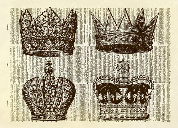 Four Royal Crowns Dictionary Art Print