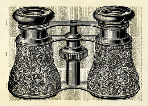 Antique Binoculars Dictionary Art Print