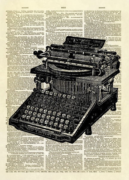 New Century Caligraph Typewriter Dictionary Art Print