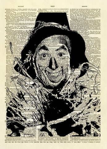 Wizard of Oz Scarecrow Dictionary Art Print
