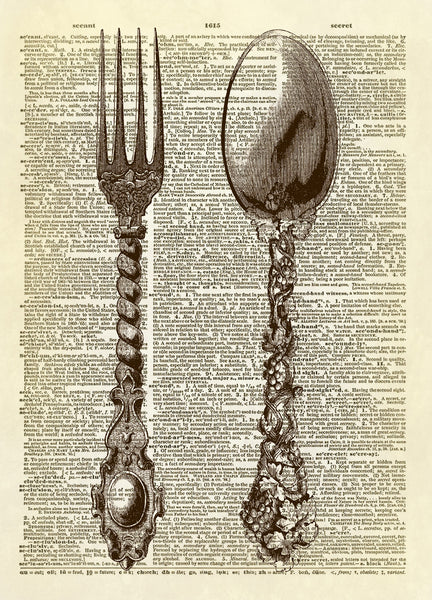 Fork and Spoon Silverware Dictionary Art Print