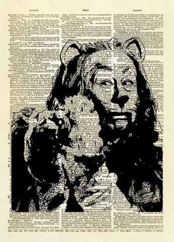 Wizard of Oz Cowardly Lion Dictionary Art Print