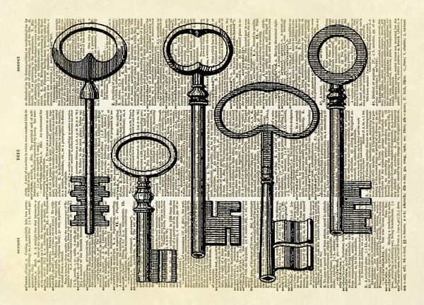 Antique Keys Dictionary Art Print