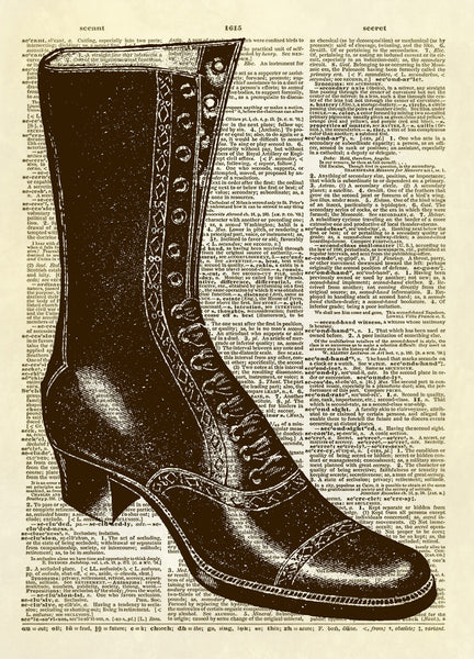 Antique Boot Dictionary Art Print