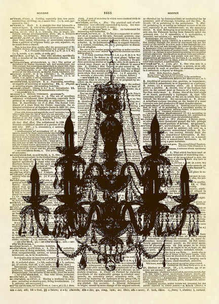 Chandelier Silhouette Dictionary Art Print