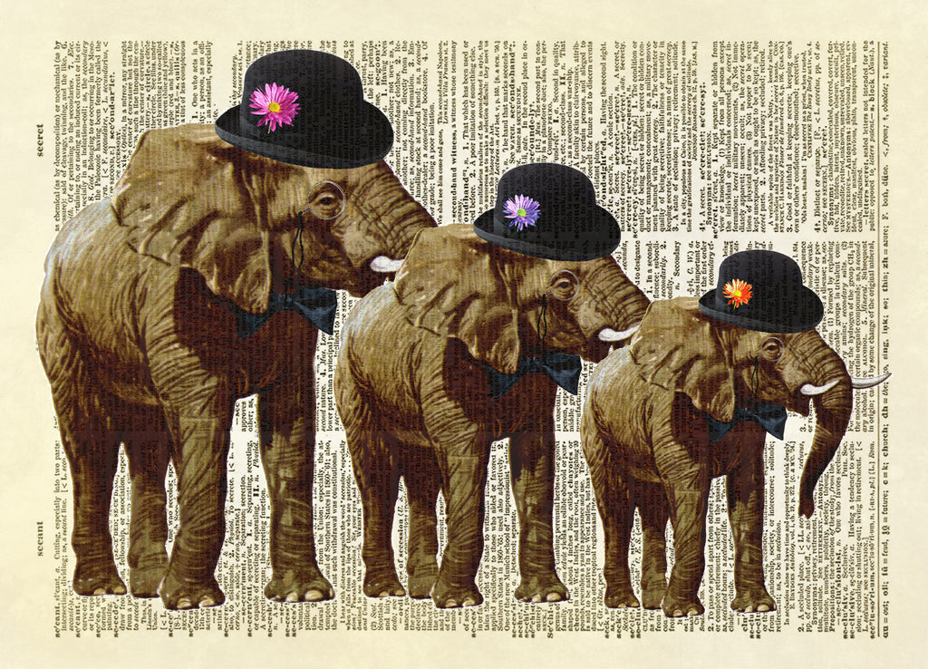 Gentleman Elephants in Hats Dictionary Art Print