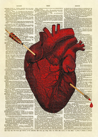 Arrow Pierced Heart Dictionary Art Print