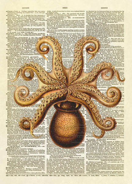 Upside Down Octopus Dictionary Art Print