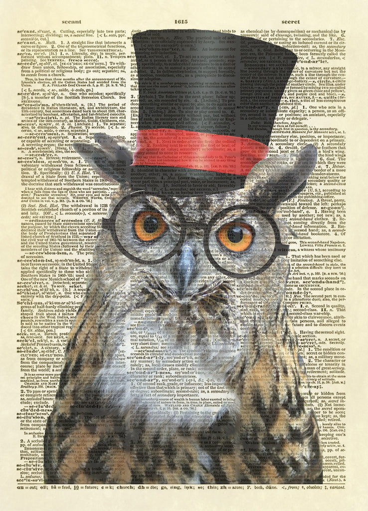 Mr. Owl with Top Hat Dictionary Art Print