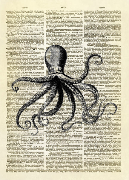 Floating Octopus Dictionary Art Print