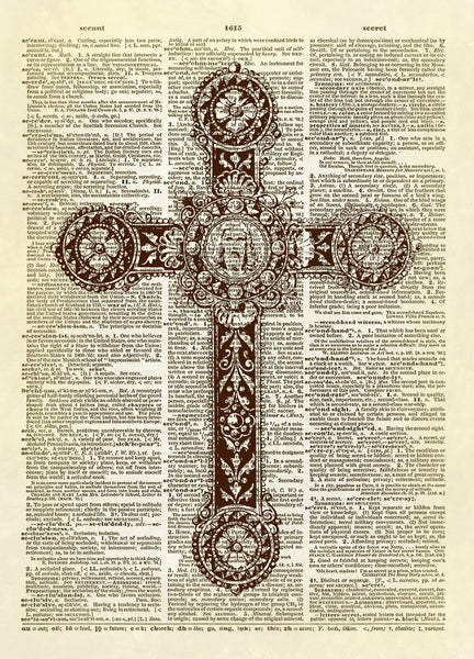 Christian Cross Necklace Dictionary Art Print