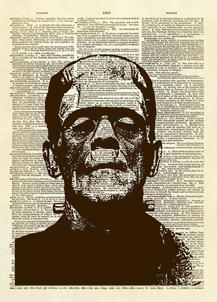 Frankenstein Monster Dictionary Art Print