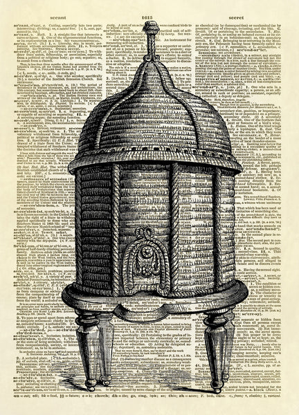 Antique Bee Skep Dictionary Art Print