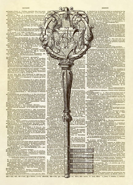 Antique Italian Key Dictionary Art Print