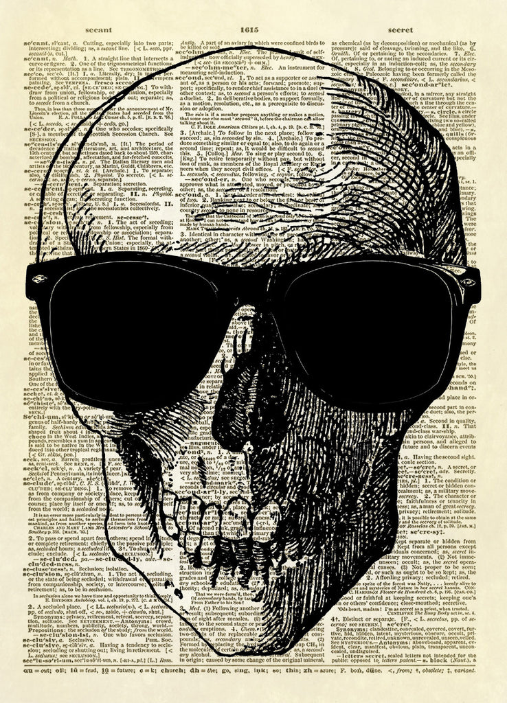 Human Skull with Sunglasses Dictionary Art Print