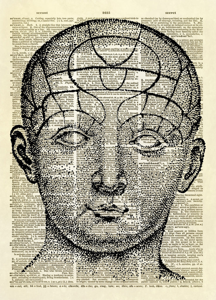 Human Skull Phrenology Diagram Dictionary Art Print