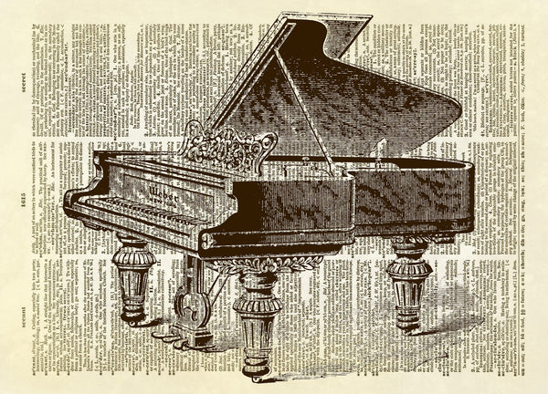 Antique Piano Dictionary Art Print