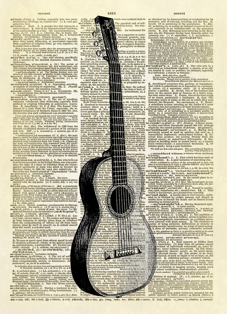 Guitar Musical Instrument Dictionary Art Print